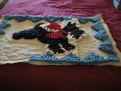 Vintage 1930s Handmade Pom Pom Rug Wall Hanging Scottie Dog Partially Completed