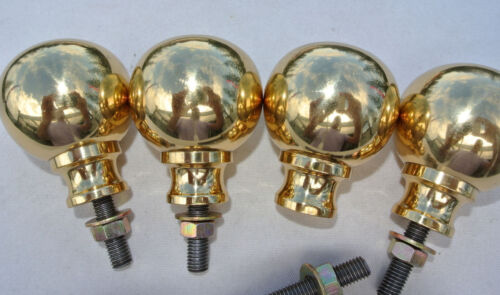 """4 small solid Brass BED KNOBS 2.1/2"""" high vintage style COT hollow heavy polishB"""