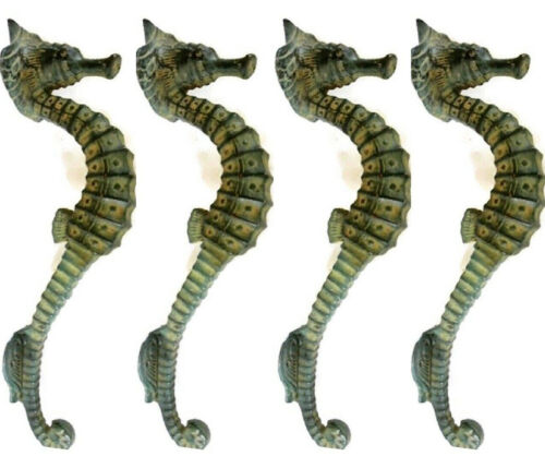 """4 small SEAHORSE PULL handle 27cm brass door aged GREEN old style house  10"""" B"""