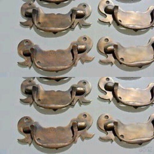 """8 heavy old look BOX drawer pulls handles for antiques brass vintage style 5"""" B"""