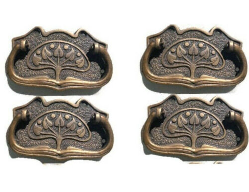 4 DECO cabinet handles solid brass furniture antiques vintage age style 9cmB