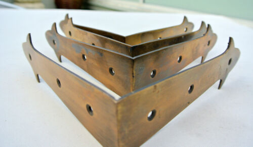 4 large corners strap solid Brass watson F100 vintage style BOX edge table150mmB