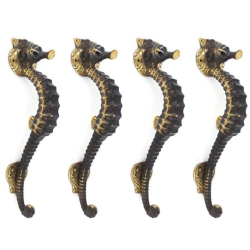 """4 SEAHORSE solid brass door AGED old style house PULL handle 10"""" outdoor small B"""