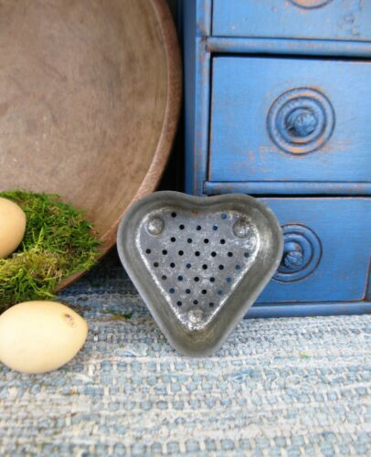Early Antique Dark Tin Heart Cheese Strainer Mold