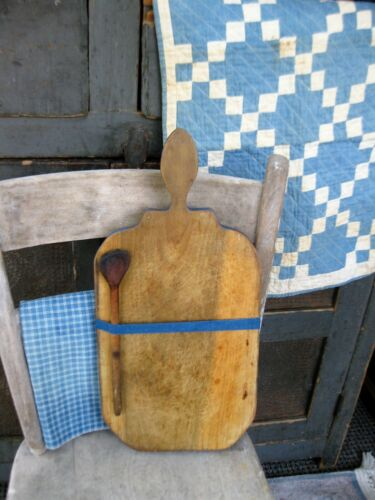 Early Antique Wood Bread Cutting Board w Old Wooden Spoon Cupboard Blue Paint