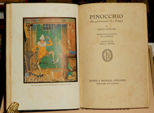 1925 PINOCCHIO THE ADVENTURES OF A PUPPET COLLODI ILLUSTRATED E.E. POTTER MURRAY