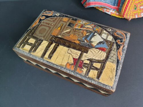 Old French Handmade and Signed Wooden Cigar Box …beautiful collection and displa