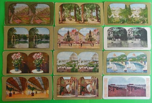 Lot of 18 Antique Vintage Stereoviews - Bears-Chicago-Flowers-Sailboats-Man