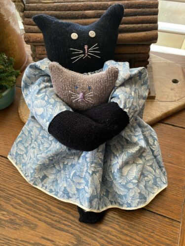 Primitive  Kitty Cat Doll Rachel   and Baby