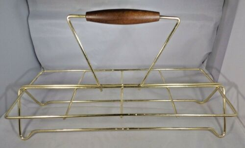 "MCM Metal Beverage Caddy for 8 Glasses Gold Tone Wood Handle 13"" Long Vintage"