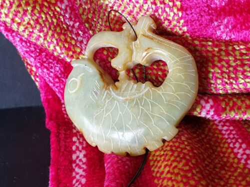 Old Chinese Carved Fish Pendant on Cord in Pale Greenstone Jade …beautiful col