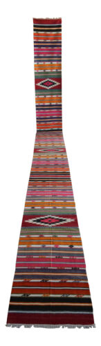 Navajo Style Runner Rug Stair Tread, Hand MADE Extra Long Kilim Rug 2 x 23.6 Ft