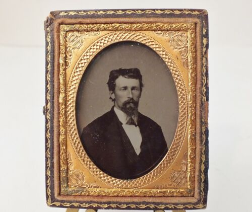 Tintype Photo - Young Man w/ Goatee in Suit Inside Copper Frame - 1860s - 1870s