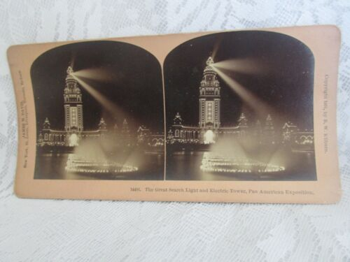 Antique James Davis Stereo View Card - Great Search Light 14491