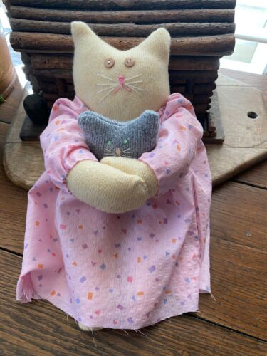 Primitive  Kitty Cat Doll  Aunt Susan  and Baby