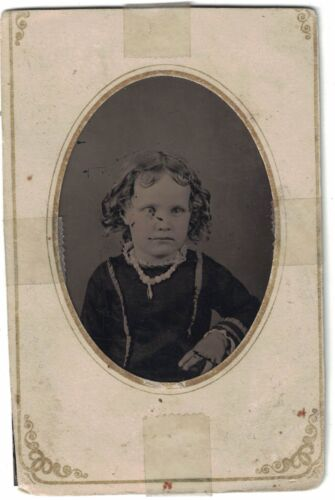 Tintype Photo - Young Girl with Curls/Neckace Named Family from Ohio 1860 - 1880