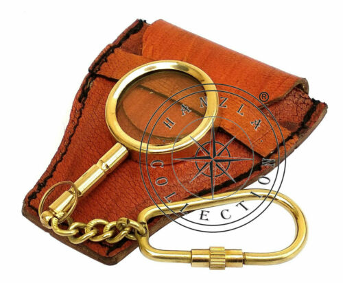 Brass Magnifier Key Chain Nautical Pocket Magnifying Glass With Leather Case
