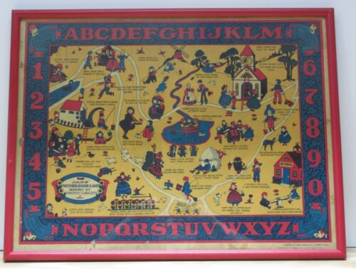 """Rare 1933 Framed """"Map of Mother Goose Land"""" Pictorial Map by Dorothy Linscott"""
