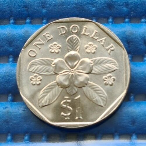 1986 Extra Large Singapore $1 Periwinkle Flower Coin ( Compare photos 3 & 4 )