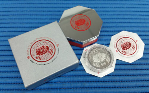 1995 Singapore Lunar Year of the Boar $10 Silver Piedfort Proof Coin