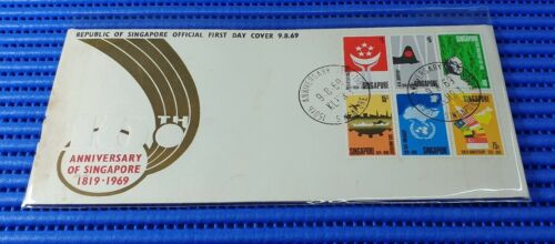 1969 Singapore First Day Cover 150th Anniversary of Singapore Miniature Sheet #4