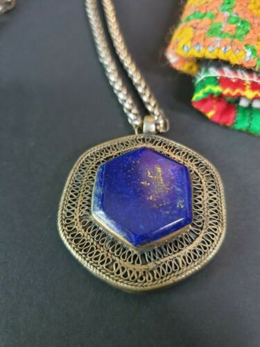 Old Tibetan Lapis Pendant in Local Silver on Chain …beautiful collection and acc