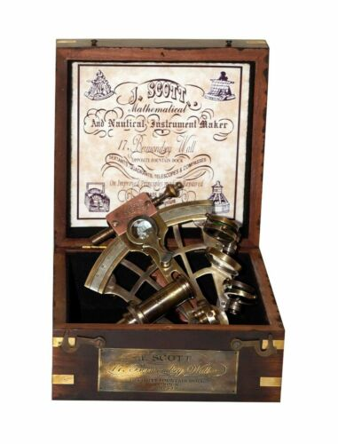 """Antique nautical solid brass j scott london 4"""" sextant with wooden box gift item"""