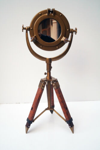 "10 "" Porthole Mirror With Table Wooden Tripod Stand Maritime Antique Nautical"