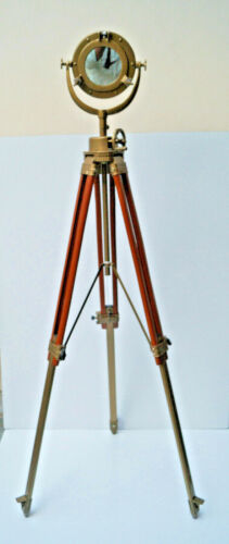 """10 """" Porthole Mirror With Floor Wooden Tripod Stand Maritime Antique Nautical"""