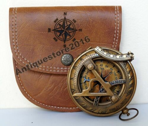 10 Pcs Brass Compas Antique Maritime Vintage Replica Sundial Pocket Leather Case