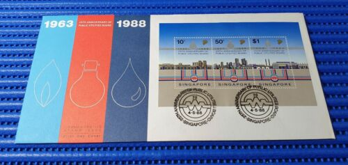 1988 Singapore First Day Cover 25th Anniversary of Public Utilities Board MS
