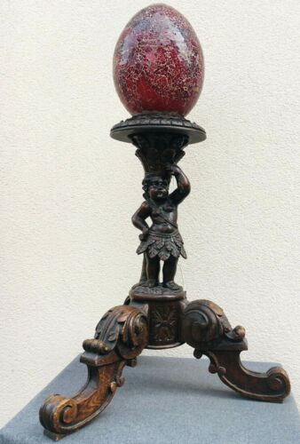 Huge antique french renaissance lamp 19th century angel woodwork table base