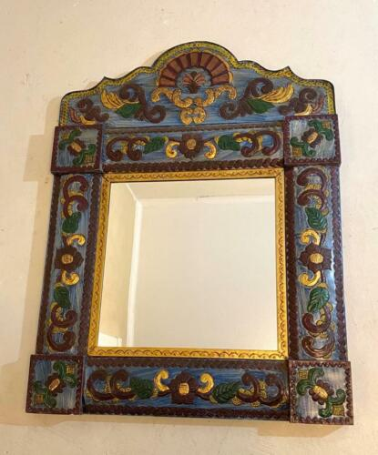 """Large Ornate Arched Blue & Gold Mexican Punched Tin Wall Mirror 31"""" x 42"""""""