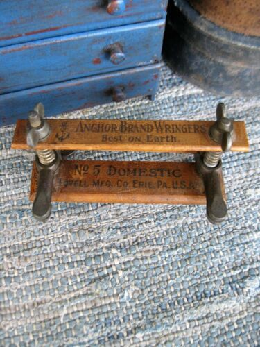 Antique Salesman Sample Anchor Washing Wringer Wood and Cast Iron Erie PA
