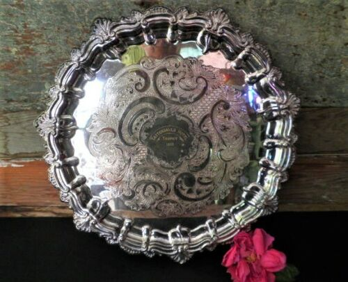 VINTAGE SILVER PLATED TRAY PARAMOUNT TATTERSALLS HOTEL TROPHY 1975 ETCHED 38CM