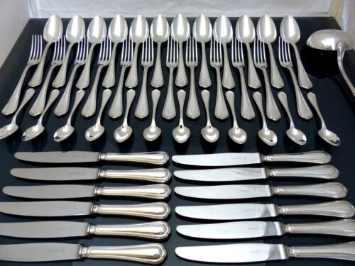 CHRISTOFLE SPATOURS Complete Table Dinner set 12 Place settings 48pcs + Ladle