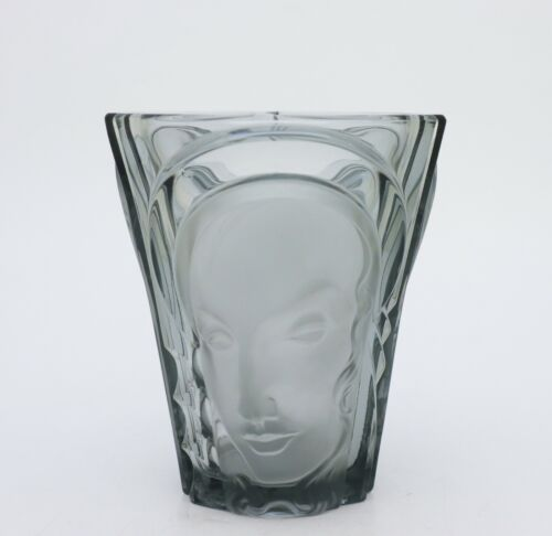 August Walther & Sohne - Beautiful Art Deco Vase Glass - Three Faces