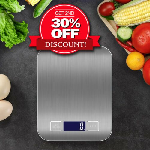Kitchen Scales Cooking Digital Digital Scale Weight 5Kg 10Kg @1g LCD Stainless  <br/> Buy 1 Get 1 at 30% OFF! Melbourne Stock Fast Shipping!