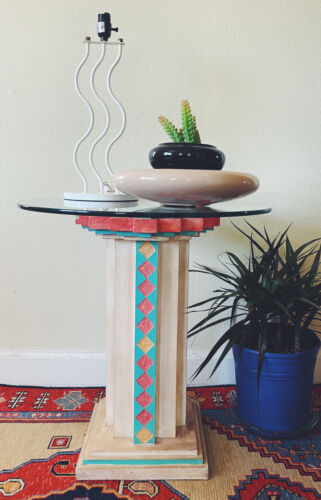 Southwestern Memphis Style Postmodern Glass Top Ceramic Accent Table 1989 Plant