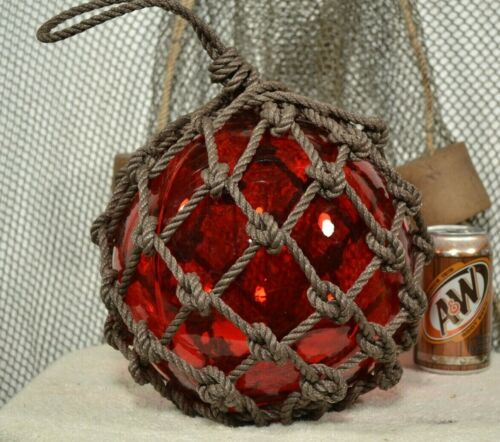"""VINTAGE GLASS FISHING FLOAT IN RED 10"""""""
