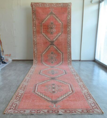 52″ x 196″ Hand Knotted Area Rug Turkish Tribal Large Runner Rug 4′4″x16′4″