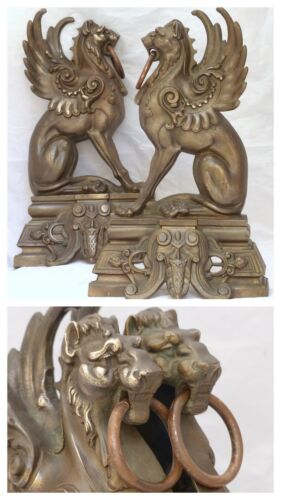 French Antique Bronze Pair Andirons 1880 Fire Dogs Fireplace Chimera Griffin