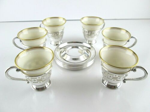 Set 6 Sterling Silver Demitasse Coffee Cups and Saucers