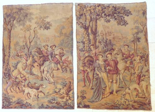 "XL Large Antique French Tapestry Medieval Scenery 68x46"" RARE PAIR 19TH"