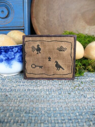 Small Cross Stitch on Linen Crow Sampler Antique Tin Type Leather Case Frame