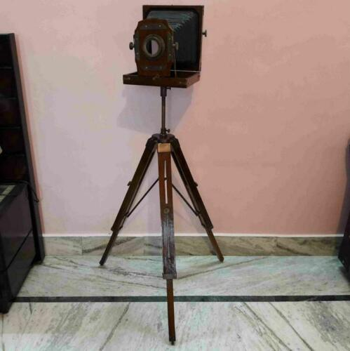 Brass Style wooden Folding Camera With Wooden Tripod stand Floor lamp Tripod