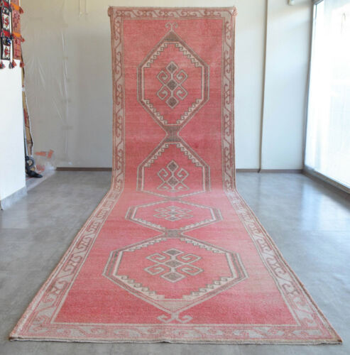 53″ x 194″ Hand Knotted Area Rug Turkish Tribal Large Runner Rug 4′5″x16′2″