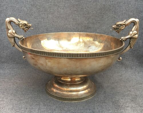 Large vintage french silver plated bowl cup 1960-70's chimeras handles dragons