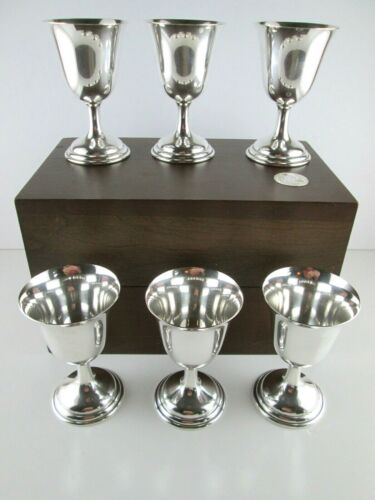 TUTTLE Sterling Silver Goblets Cups Boxed Set 6