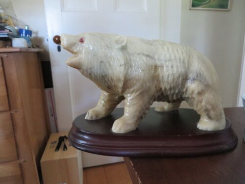 old vintage faux stone marble alabaster carved look bear on stand